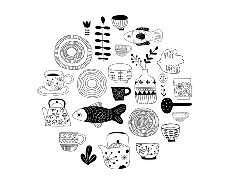 Simple, elegant and stylish collection of modern hand drawn kitchenware