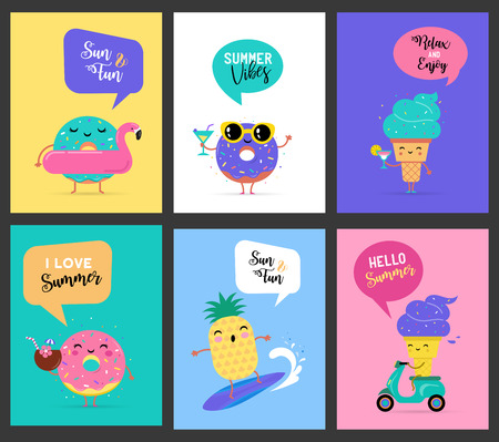 Summer activities concept template design set