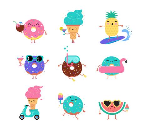 Süßer Sommer - süße Charaktere aus Eis, Wassermelone und Donuts machen Spaß. Pool, Meer und Strand Sommer Aktivitäten Konzept. Standard-Bild - 99199571