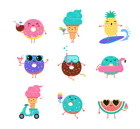 Sweet summer - cute ice cream, watermelon and donuts characters make fun. Pool, sea and beach summer activities concept.