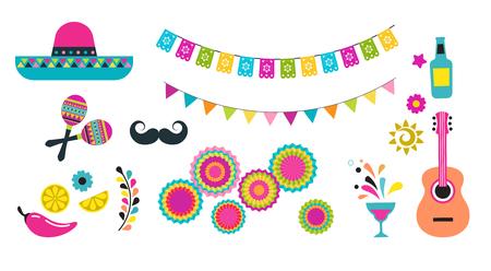 Mexican fiesta, Cinco de Mayo, birthday designs, elements and icons