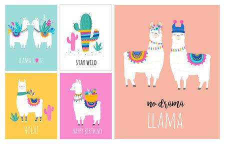 Lama- und Alpakasammlung nette Hand gezeichnete Illustrationen, Karten und Design für Kindertagesstättenauslegung, Plakat, Grußkarte