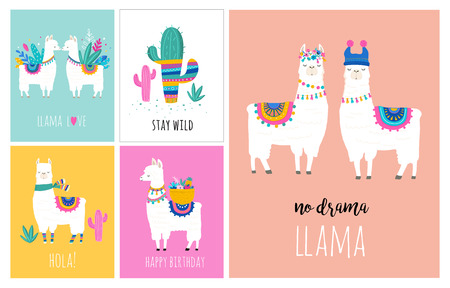 Llama and alpaca collection of cute hand drawn illustrations, cards and design for nursery design, poster, greeting card