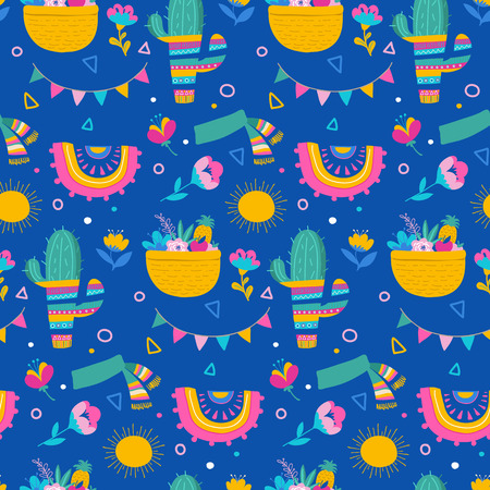 Seamless pattern and background, cacti, palm leavs, jungle flowers, Mexican fiesta background