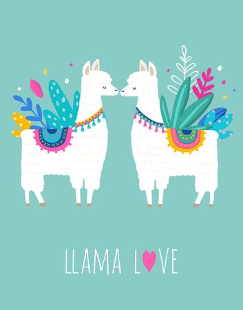 Llama Love illustration, cute hand drawn elements and design for nursery design, poster, birthday greeting card Vettoriali