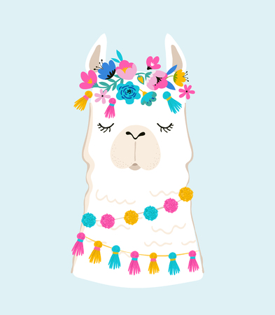 Llama illustration with cute hand drawn elements and design for nursery poster or birthday greeting card Imagens - 99582834