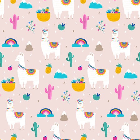 Llama, alpaca, cactuses and leaves seamless pattern, background Фото со стока - 99585359