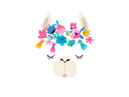 Llama illustration, cute hand drawn elements and design for nursery design, poster, birthday greeting card 免版税图像 - 99522285
