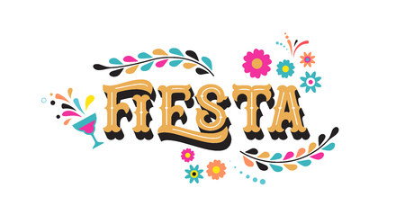 Fiesta banner and poster concept design with flags, flowers, decorations Ilustração