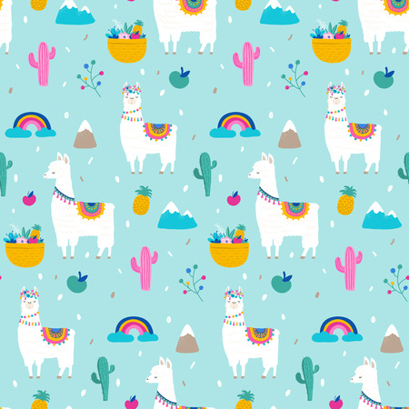 Llama, alpaca, cactuses and leaves seamless pattern, background