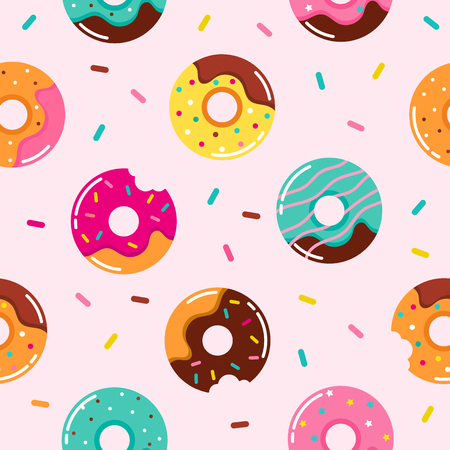 Sweet summer seamless pattern with donuts vector illustrations Stock Illustratie