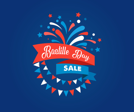 Happy Bastille Day, the French National Day poster and concept design