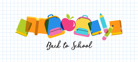 Back to school and educational concept design, sale banner Illustration