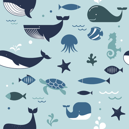 Sea life, whales, dolphins and sea stars seamless pattern Illustration