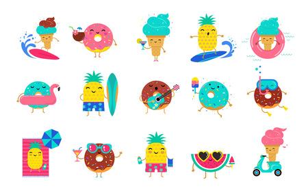 Dolce estate: simpatici personaggi di gelato, anguria e ciambelle si divertono. Illustrazioni vettoriali di concetto di attività estive in piscina, mare e spiaggia