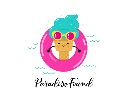Cute Ice cream character in the pool on pink float. Poser design Illustration