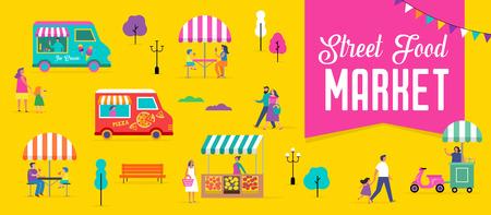 Fête d'été, foire de rue de la nourriture, affiche du festival familial et conception colorée de bannière