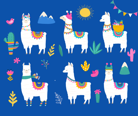 Llama collection, cute hand drawn illustration and design for nursery design, poster, birthday greeting card Vectores