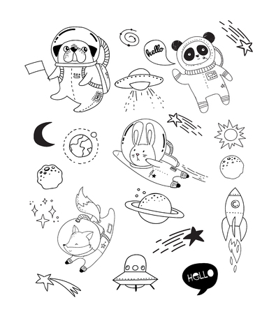 Outer Space concept illustration. Cute animals astronauts in helmets, creative nursery designs, perfect for kids room, fabric, wrapping, wallpaper, textile, apparel Stock Illustratie