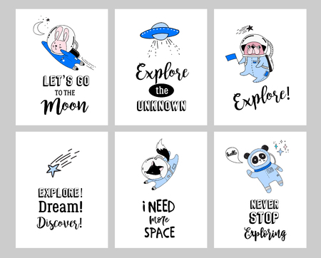 Outer Space concept illustration. Cute animals astronauts in helmets, creative nursery designs, perfect for kids room, fabric, wrapping, wallpaper, textile, apparel  イラスト・ベクター素材