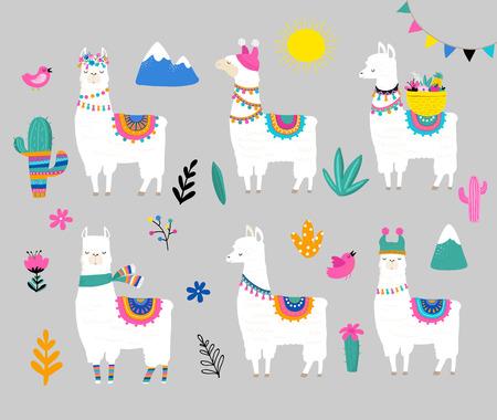 보육 디자인, 포스터, 생일 인사말 카드를위한 라마 컬렉션, 귀여운 손으로 그린 그림 및 디자인