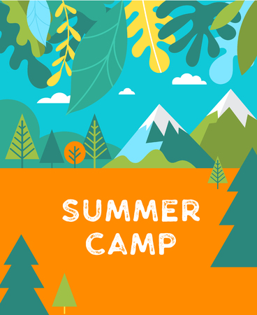 Summer camp, children vacation, activity poster and flyer for kids . Camping and travelling on holiday
