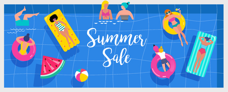 Top view beach background, Pool party, Summer water activities, scene with a lot of tiny people, characters, umbrellas, balls and kids. Vector banner, poster design