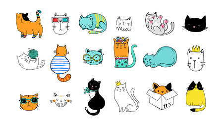 Cats cute doodles, collection of vector illustrations