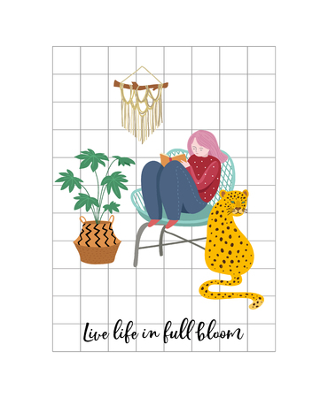 Trendy print with home decor with plants, planters, leopard and inspirational quote. Gardening concept design