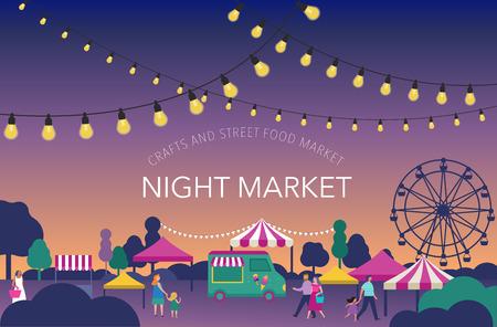 Mercado nocturno, fiesta de verano, feria de comida callejera, cartel de festival familiar y diseño colorido de pancarta