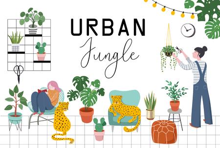 Städtischer Dschungel, trendige Wohnkultur mit Pflanzen, Pflanzgefäßen, Kakteen, tropischen Blättern, Makramee-Kleiderbügeln mit Töpfen und Blumen Vektorgrafik