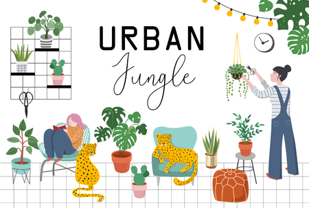 Urban jungle, trendy home decor with plants, planters, cacti, tropical leaves , macrame hangers with pots and flowers