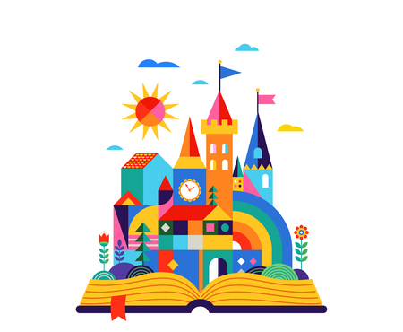 Open book with geometric fairy tale kingdom, knight castle, children room, class wall decoration. Colorful vector illustration Stock Illustratie