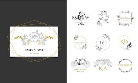 Logo ślubne, ręcznie rysowane elegancka, delikatna kolekcja monogramów