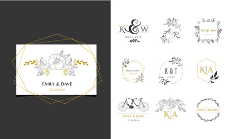 Wedding logos, hand drawn elegant, delicate monogram collection 版權商用圖片 - 104217134