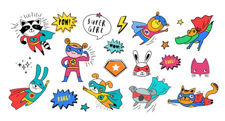 Supereroe simpatici animali disegnati a mano, gatto, cane, panda, orso e coccodrillo caratteri vettoriali