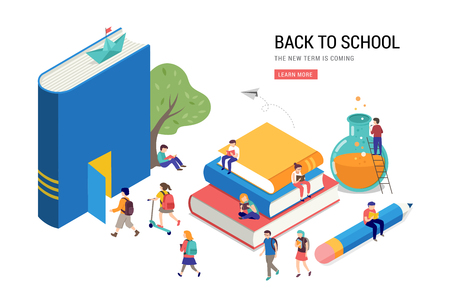 Back to school, books, education and research concept. College and university scene with children, students Ilustração
