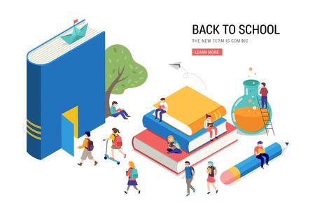 Volver al concepto de escuela, libros, educación e investigación. Escena universitaria y universitaria con niños, estudiantes. Ilustración de vector