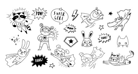 Superhero cute hand drawn animals, cat, dog, panda, bear and crocodile vector black and white characters