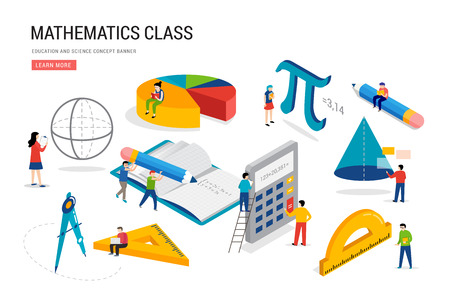 Math lab and school class. Science, education, mathematics scene with miniature people, students. Isometric vector concept design