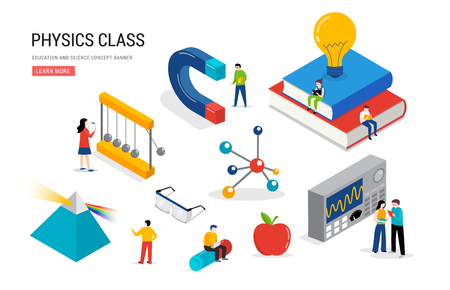Physics lab and school class. Science, education scene with miniature people, students. Isometric, vector concept design