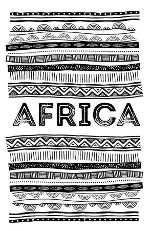 アフリカの背景、部族の伝統的なパターンを持つチラシ。コンセプトデザイン