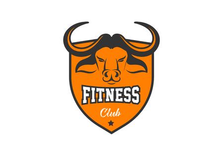Head of Bull, buffalo, Fitness, crossfit, gym emblems, label, badge, logo and element Illustration