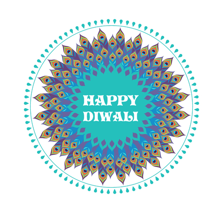 Happy Diwali Hindu festival banner, card. Burning diya illustration, background for light festival of India Vettoriali