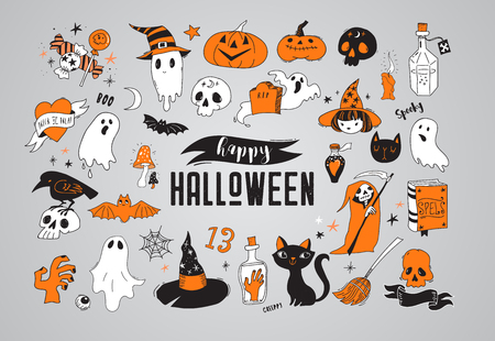 Happy Halloween hand drawn stickers, icons, elements