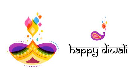 Happy Diwali Hindu festival banner, card. Burning diya illustration, background for light festival of India 矢量图像