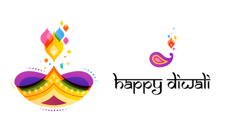 Happy Diwali Hindu festival banner, card. Burning diya illustration, background for light festival of India Illustration