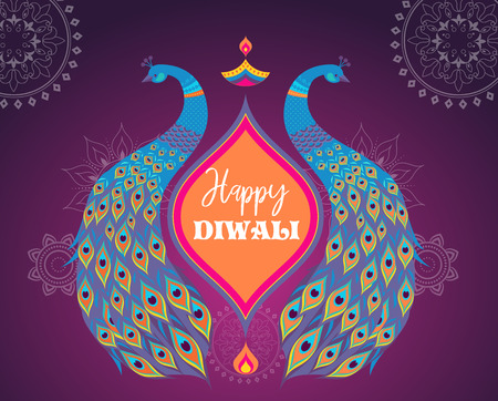 Happy Diwali Hindu festival banner, card. Burning diya illustration, background for light festival of India Vettoriali