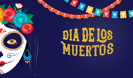 Dia de los muertos, Day of the dead, Mexican holiday, festival. Vector poster, banner and card with make up of sugar skull, woman and man Vector Illustration