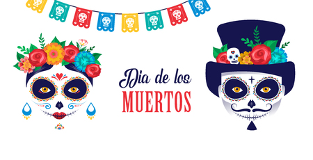 Dia de los muertos, Day of the dead, Mexican holiday, festival. Vector poster, banner and card with make up of sugar skull, woman and man Foto de archivo - 105940720